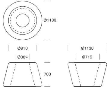 Loop Cone tafel omschrijving - tekening