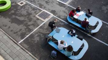 Plateau-O picknicktafels rond - in blauw
