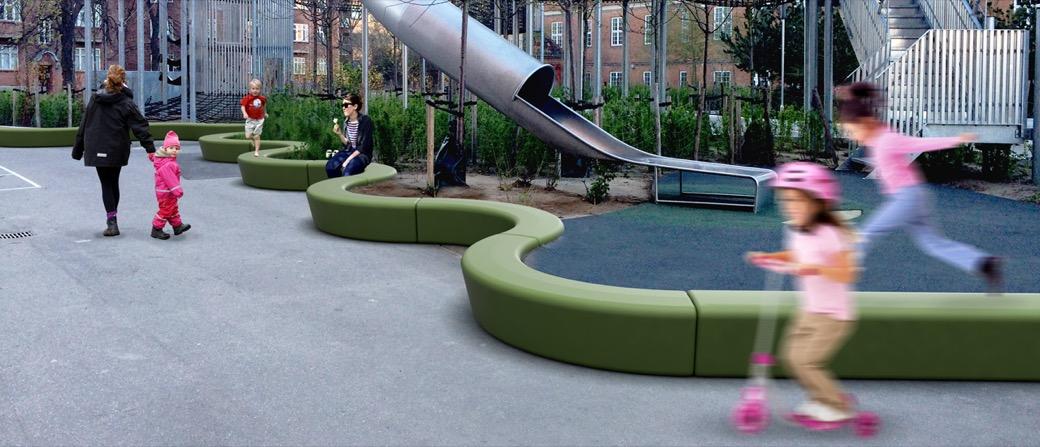 Loop Arc bank half rond rood kunststof kinderziekenhuis speelplaats eenvoudig te onderhouden hygiënisch schoon te houden cirkelvormig half rond slinger als zitelement om te spelen uit te rusten kijken naar andere spelende sportende kinderen hufterproof kr