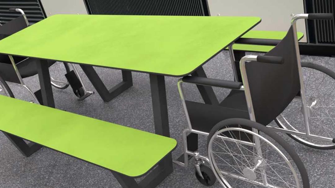 tjinco rolstoelvriendelijk picknicktafel rolstoelers mindervalide invalide mobiel gehandicapten openbare ruimte straatmeubilair recreatiegebied recreatiepark park openbare ruimte plein